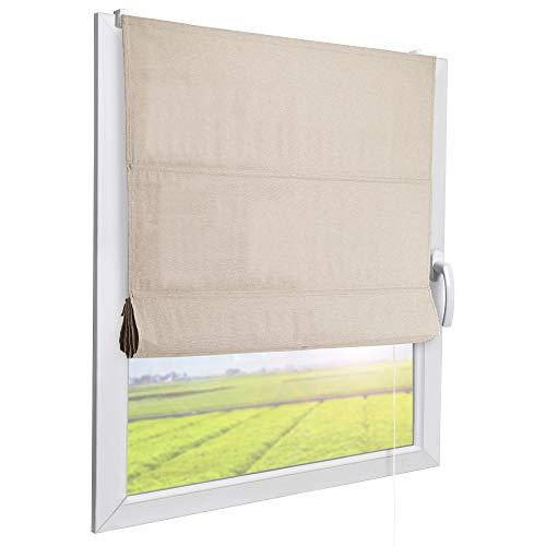 Sol Royal Raffrollo RA3 100x240 cm Stoffrollos für Fenster Natur Raffgardine ohne Bohren Stoffgardine mit Klemmträgern