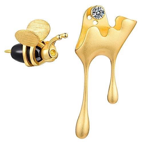 Lotus Fun S925 Sterling Silver Earrings Bee and Dripping Honey Asymmetric Stud Earrings for Women...
