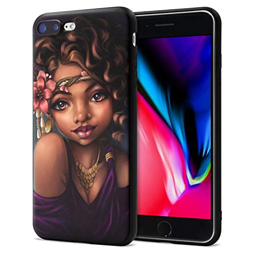 iPhone 7 Plus iPhone 8 Plus Case African American Afro Girls Women Slim Fit Shockproof Bumper Cell Phone Accessories Thin Soft Black TPU Protective Apple iPhone 7 Plus Cases (06)