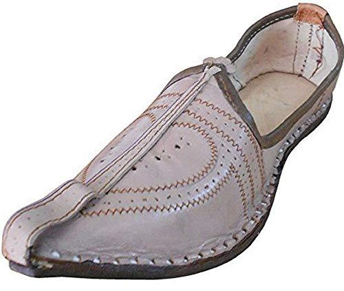 Kalra Creations - Infradito da uomo in pelle indiana, stile tradizionale, Marrone (Cammello), 38.5 EU