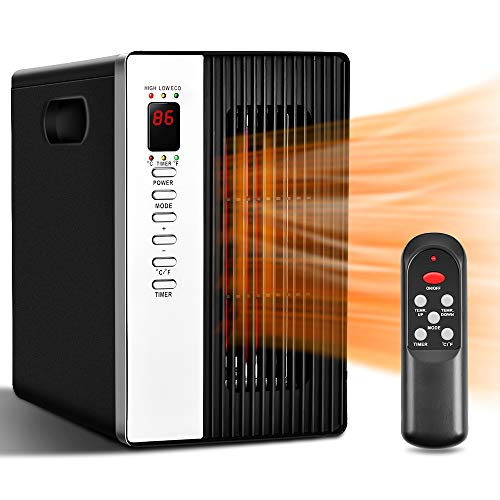 Space Heaters for Indoor Use - Room Heater with Remote Control, 495 SqFt Coverage 1500W/1000W/ECO, Tip-Over & Overheat Shut-off, 40% Energy Saving, Infrared Heaters Portable Electric for Home & Office