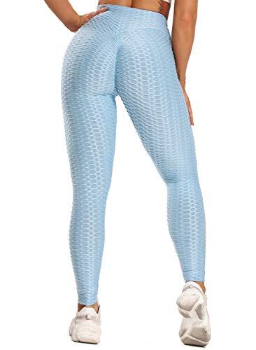 FITTOO Leggings Push Up Mujer Mallas Pantalones Deportivos Alta Cintura Elásticos Yoga Fitness  Azul CieloM