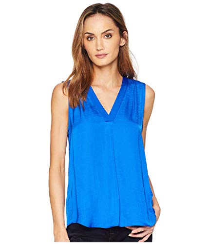 Vince Camuto Womens Sleeveless V-Neck Rumple Blouse Cobalt Blue LG