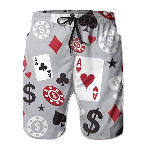 Poker Card Casino Shorts de Tablero para Hombre,Traje de baño de Secado...