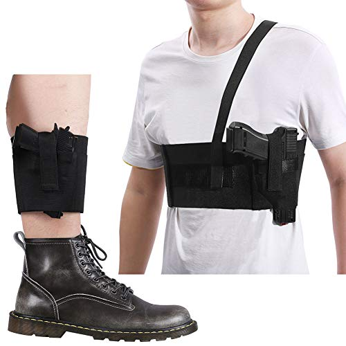 Deep Concealed Shoulder Holster + Ankle Holster Set, Accmor Adjustable Concealment Gun Holsters for Men and Women, Elastic Underarm & Leg Holsters with Magazine Pocket/Pouch for Concealed Carry