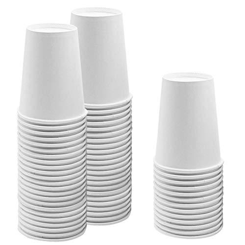 JINLE 60 Pezzi Bianca Bicchieri di Carta USA e Getta, Biodegradabili e Compostabile Bicchieri Monouso per Feste, Compleanni, per Fai da Te, Vacanze - 255 ml