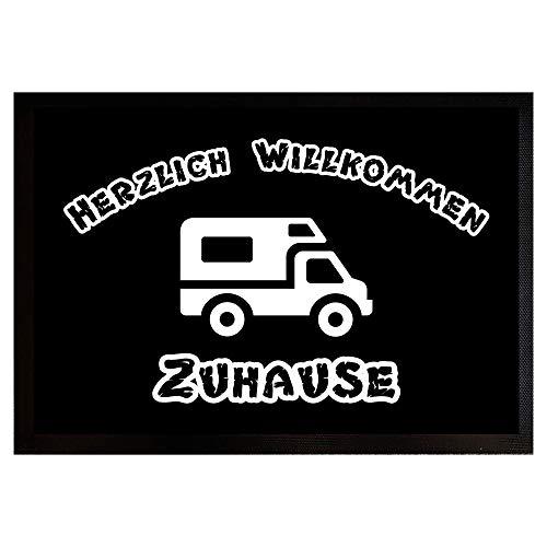 Fußmatte mit Gummirand 50x35 cm - Herzlich Willkommen Zuhause Womo - Camping - Wohnwagen - Wohnmobil