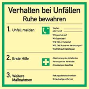 Schild Aushang Verhalten bei Unfällen | langnachleuchtend | PVC 18 x 18 cm | DIN EN ISO 7010 | Verhalten bei Unfall Verhaltensregel Betriebsaushang Hinweisschild Erste Hilfe