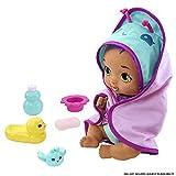 My Garden Baby Hora del baño, muñeco de juguete con toalla mariposa y accesorios, regalo para niñas y niños mayores de 18 meses (Mattel HBJ68)