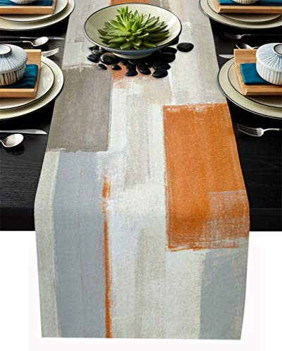 Thanksgiving Chritsmas Table Runner Holiday Family Kitchen Dinning Table Decorative Orange Brown product image