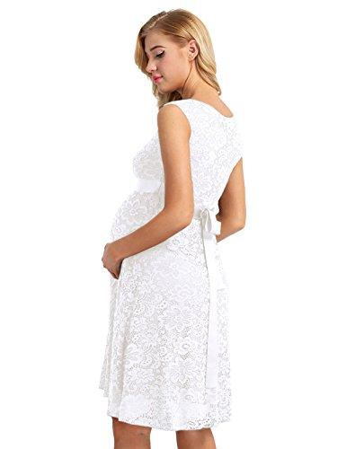 Tiaobug Damen Umstandskleid Spitzenkleid Frauen Schwangerschafts Kleid V-Ausschnitt Mutterschafts Kleid Fotografie Stillkleid mit Geknotetem Dekolleté Weiß Ärmellos - 2