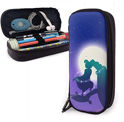 Aladdin Lampe Liebesgeschichte Big Capacity Pencil Case Echtes Leder Pen Case Schreibwaren Tasche Zipper Pouch Pencil Holder