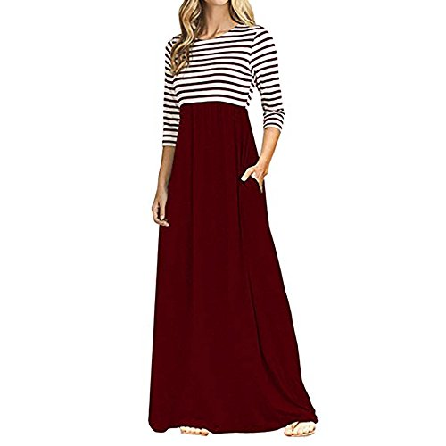 Patifia Kleider Damen Sommer, Frauen-Streifen-Lange Hülsen-hohe Langarm Taille Boho Lange Maxi-Kleider mit Taschen Elegant Blusenkleid...
