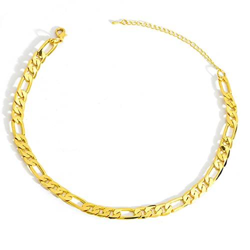 Collares de Cadena Figaro Rellenos de Oro para Hombres y Mujeres, Cadena de eslabones cubanos de 5 MM de Ancho para Colgante, joyería de Hip Hop, Regalos