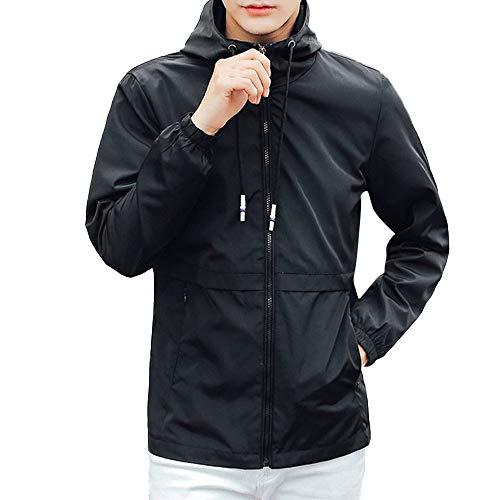 KUKICAT Veste Hommes Imperméable Homme Trench Coat,Léger Militaire Softshell à Capuche Manches Longues Zippé Jacket Résistant au Vent d'Extérieur Jogging Manteau Outwear Windbreaker