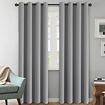 H.Versailtex Blackout Room Darkening Curtains / Window Panel Drapes -  Grey Color  - 2 Panels - 52 inch Wide by 84 inch Long Solid Dove Gray Pattern,Grommet Top