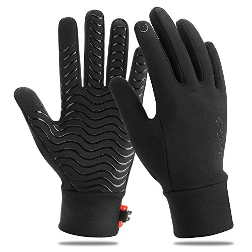 Eadali Winter Gloves Warm Touchscreen Gloves Lightweight Windproof Running Mittens Liners for Driving Training Fitness Exercise - Black - X-Large