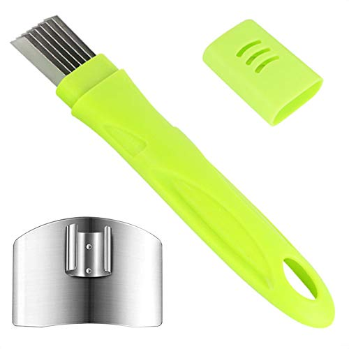 MOSNOW Spring Onion Slicer + Stainless Steel Finger Guards, Onion Shredder with Lid and 7 Blades, Vegetable Cutter, Cooking Tools, Multi-Functional Kitchen Gadgets (Green)