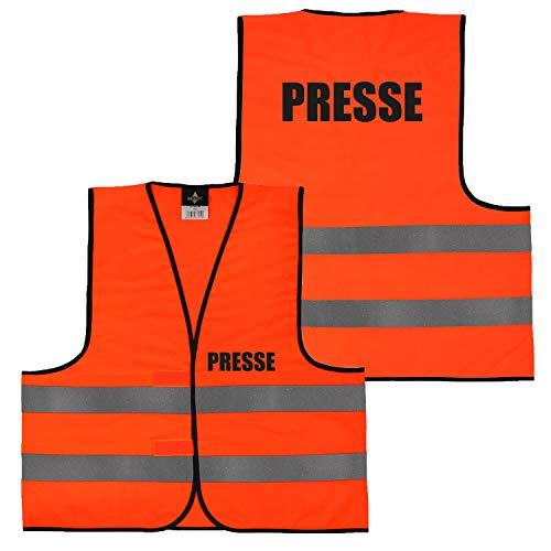 Shirt-Panda Warnweste · Gelb Orange · beidseitig Bedruckt auf Brust und Rücken · Ordner, Security, Brandschutzhelfer · große Auswahl · Reflektionsstreifen · 023 Presse (Orange) M