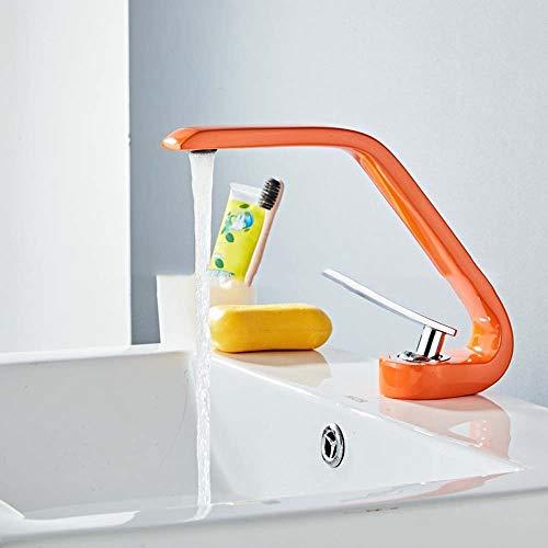 U/D Grifos de baño Caliente de la Cuenca Forma Creativa Naranja Y Agua fría del Grifo de latón Curvado baño Lavabo Mezclador