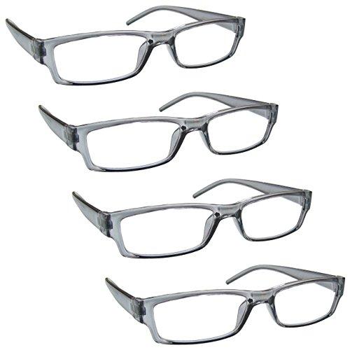 The Reading Glasses Company Die Lesebrille Unternehmen Grau Leicht Komfortables Leser Wert 4er-Pack Designer Stil Herren Frauen UVR4PK032GR +2, 00 / Grau