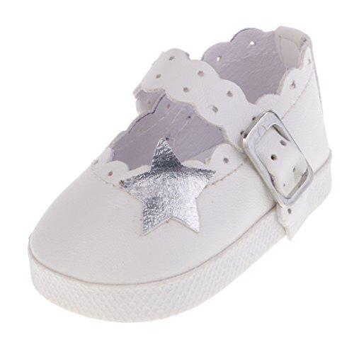 Baoblaze 1 Paar Mini Mode Schuhe Ebeneschuhe für 18 Zoll Weibliche Puppen - Weiß, E