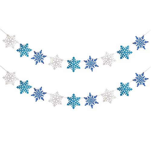 2 Pack White & Blue & Light BLue Glittery Snowflake Banner- Christmas Party Decorations,Winter Wonderland Birthday Baby Shower Decorations,Santa Festive Party Decor,Snow Theme Decorations,Frozen Garland