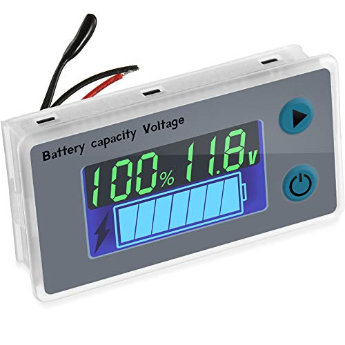 Battery Meter Monitor with Low Voltage Buzzer Alarm 10100V Digital Battery Capacity Tester Battery Capacity Indicator Battery Meter Golf Cart Voltage Temperature Switch Meter Panel 1 Piece