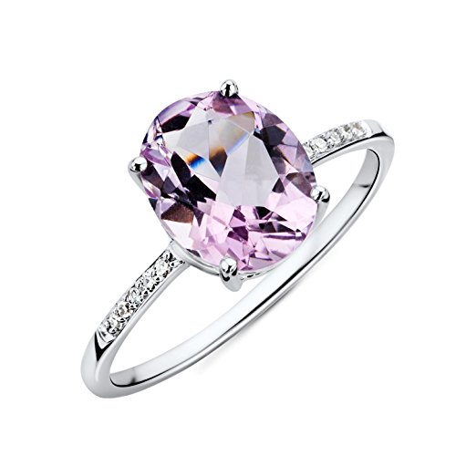 Miore Ring Women Pink Amethyst with Brilliant Cut Diamonds White Gold 9 Kt / 375