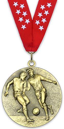 Ninguna Medalla de Metal Personalizable - Fútbol Masculino - Color Oro - 6,4cm - Cinta Incluida - Colores de Cinta - Rojo-Estrellas Blancas