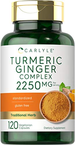 Turmeric Curcumin & Ginger Complex | 2250 mg | 120 Capsules | Vegetarian, Non-GMO, Gluten Free Supplement | by Carlyle
