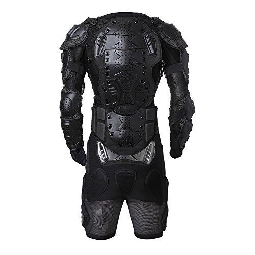 Equipación protectora para moto de chaqueta y pantalón corto, protecciones para ciudad, para motocross y para todoterreno, de la marca Wales Lucky, color negro, tamaño Medium