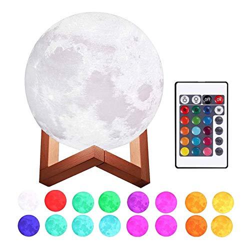 Lámpara Luna 3D Printing, 3D.Mr.Señor [Versión Última ]20CM16 Colores USB Cambio de 3D Lámpara de Control de Luz de Luna con Soporte de Madera para Dormitorio, Regalo de Fiesta