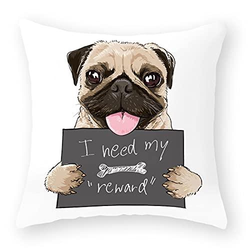 MissW Funda De Almohada Decorativa con Estampado De Perro De Dibujos Animados Simple Engrosada Sin Núcleo De Almohada con Funda De Almohada con Cremallera Adecuada para Sofá