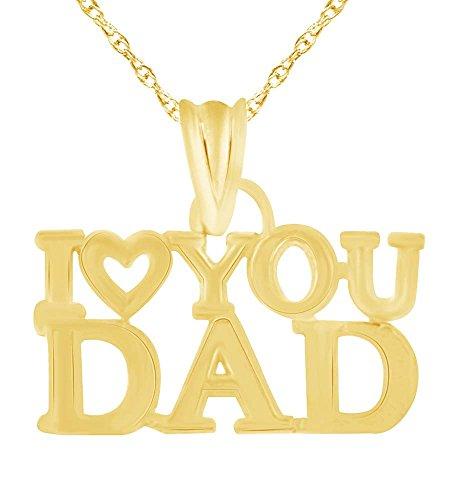 Wishrocks 10K Solid Gold I Love You Dad Pendant