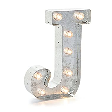 Darice 5915-711 Silver Metal Marquee Letter 9.875 -J