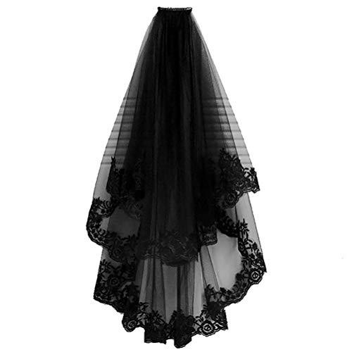 TBEONE Velo de boda de encaje negro, velo de novia gótico de...