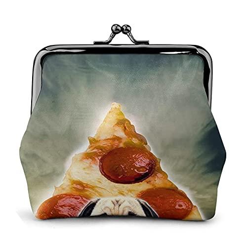 Billetera Funny Pug Dog Pizza Wallet Buckle Leather Travel Makeup Change Purse Women Gift
