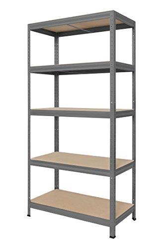 Hans Schourup 13501070 Lagerregal mit 5 böden aus MDF, Traglast von bis zu 275 kg pro Boden, 180 cm x 90 cm x 35 cm, Grau