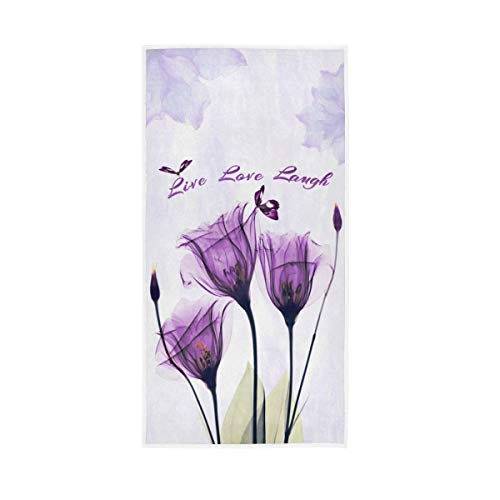 Beautiful Lavender Flower Hand Towels - Watercolor Butterfly Purple Floral Print Bath Bathroom Towel Live Love Laugh Violet Fingertip Towels Highly Absorbent Soft Guest Fingertip Towels