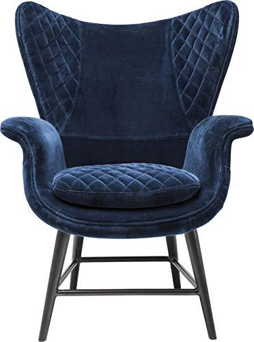 Kare Design Sessel Tudor Blue Velvet, Loungesessel mit geschwungenen Armlehnen, Ohrensessel mit Samtbezug, Dunkelblau (H/B/T) 101x78x79cm