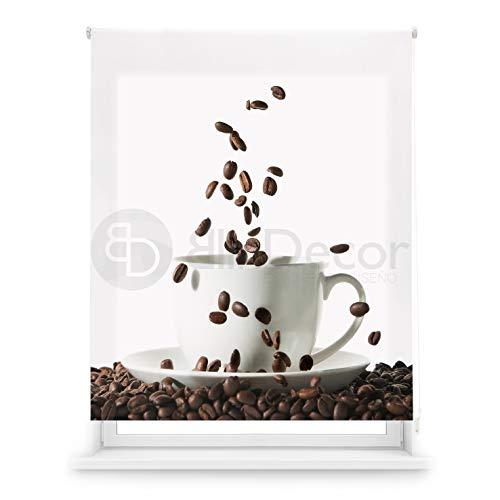 Blindecor Estor Enrollable translúcido Cocina, Coffee, 130 x 180 (Ancho x Alto)