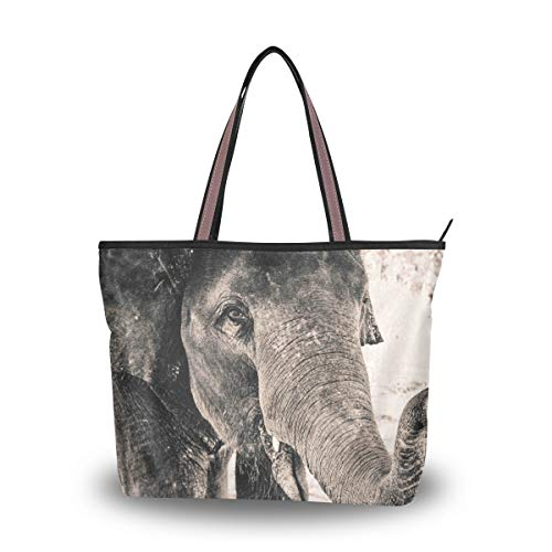 Schultertasche mit Reißverschluss Grau Elefant Große Handtasche Tote Strandtaschen für Frauen, Mehrfarbig - multi - Größe: Medium