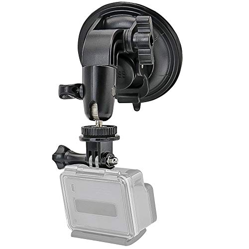 Heavy Duty Camera Car Windshield Mount with 1/4-20 Adapter for GoPro Hero Series and All Cameras