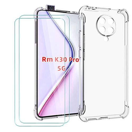 """WenJie Cover per Xiaomi Redmi K30 PRO + 2 Pack Vetro Temperato, Case Silicone Shell Trasparente Guscio Sottile Assorbimento degli Urti Cover di TPU - Pellicola Protettiva Proteggi Schermo (6.59"""")"""