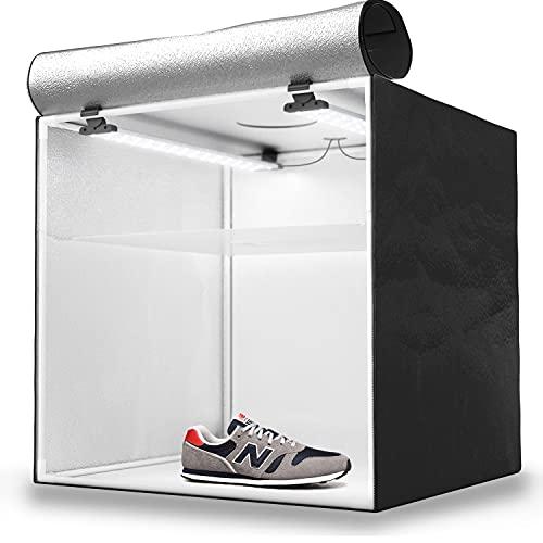 HAVOX - Studio Photo HPB-60D - Boîte à lumière Portable avec 2 rampes LED inclinables - Lightbox 60x60x60cm - Éclairage 5500K - 13.000 lumens - Système Anti-reflet