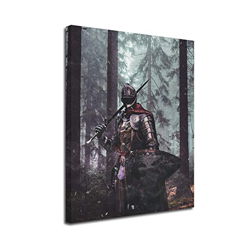 Armored Warrior Wall Art Canvas -Inner Framed Oil Paintings Printed on Canvas Modern Artwork for Home Decorations and Easy to Hang for Living Room Bedroom-Epic,Medieval Knight,Samurai Wall Art gift