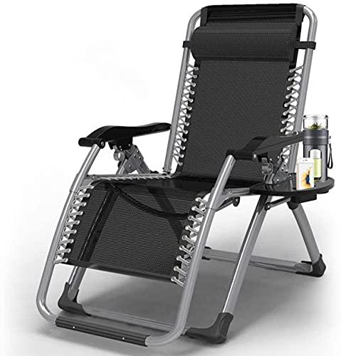 Bedspread Sillón reclinable reclinable de Gravedad Cero, sillón reclinable, cómodo sillón reclinable de Playa de Metal de Gravedad Cero, Carga máxima 150 kg Negro