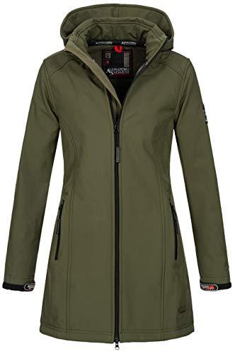 A. Salvarini Damen Softshell Jacke wasserabweisend Outdoor lang AS-131 [AS-131-Dunkelgrün-Gr.XL]