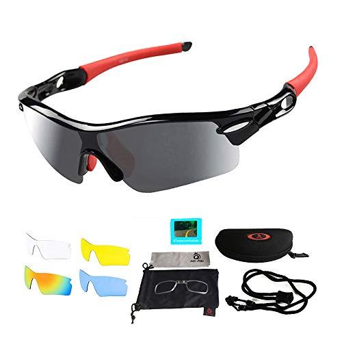 VILISUN Sport Sonnenbrille Fahrradbrille Sportbrille mit UV400 5 Wechselgläser inkl Schwarze Polarisierte Linse für Outdooraktivitäten wie Radfahren Laufen Klettern Autofahren Angeln Golf Unisex
